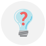 Icon - Illustrated image of a lightbulb with a question mark inside it