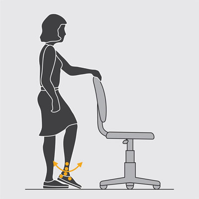 Illustration of a worker demonstrating the foot pump exercise.