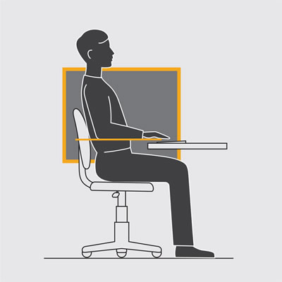 Illustration shows most ergonomic position of the desk top to your seating position.