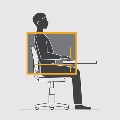 Illustration shows key points of clearance to consider. If you do not have a height-adjustable desk you might have to cut the legs or raise the desk on blocks.