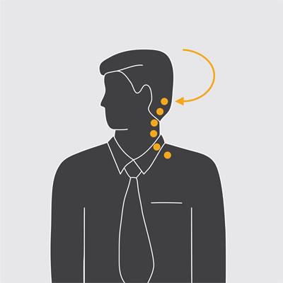 Illustration showing neck turns exercise.