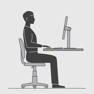 Illustration shows a neutral position sitting at a desk, while using a mouse.