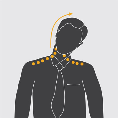 Illustration showing neck stretch exercises.